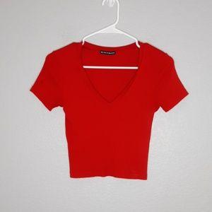 Brandy Melville Red Ribbed V Neck Crop Top